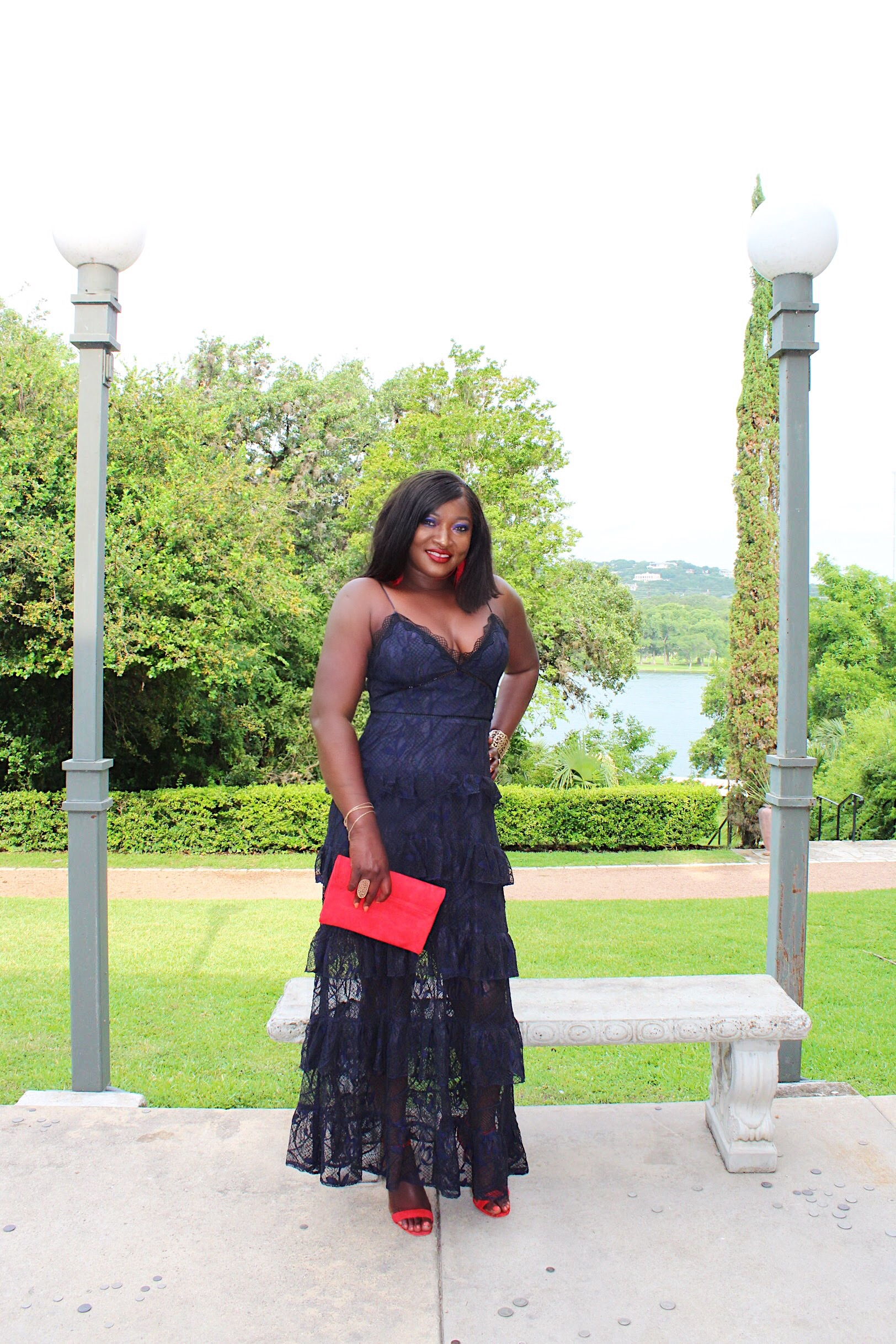Wedding Guest Look: Tiered Lace Maxi dress With Red Accents
